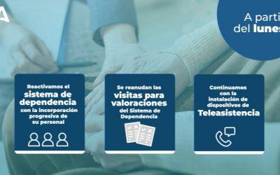 Andalucía reactiva a partir del lunes el sistema de la dependencia con la incorporación progresiva de su personal